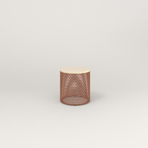 RAD Drum Side Table in solid ash and coral powder coat.