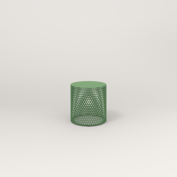 RAD Drum Side Table in solid steel and sage green powder coat.