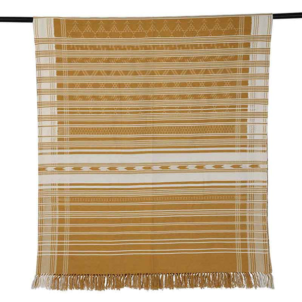 "Mustard Yellow Weft Woven Throw — 77"" x 37"""