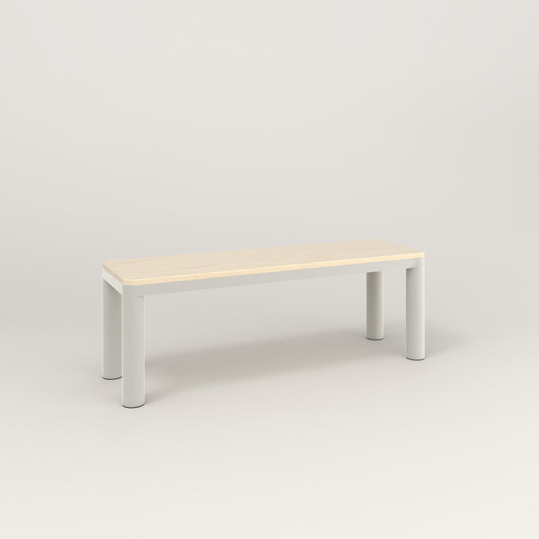 RAD Radius Bench in solid ash and white powder coat.