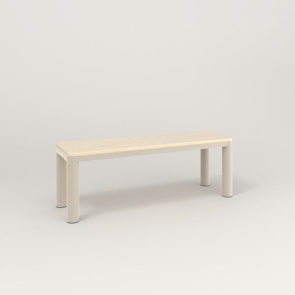 RAD Radius Bench in solid ash and off-white powder coat.