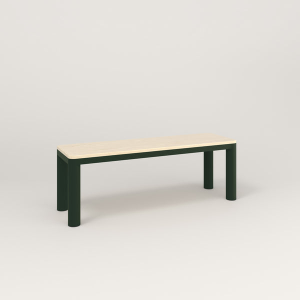 RAD Radius Bench in solid ash and fir green powder coat.
