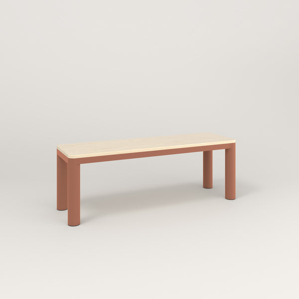 RAD Radius Bench in solid ash and coral powder coat.