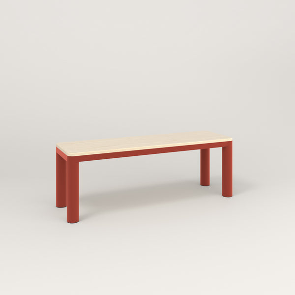 RAD Radius Bench in solid ash and red powder coat.