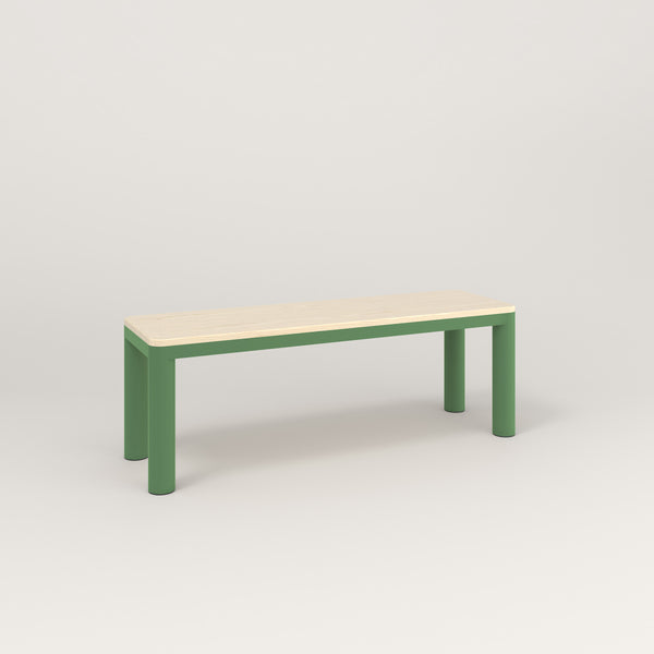 RAD Radius Bench in solid ash and sage green powder coat.