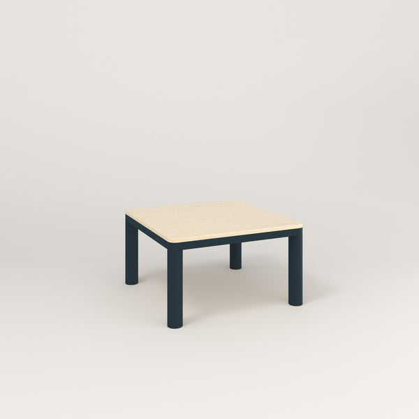 RAD Radius Coffee Table in solid ash and navy powder coat.