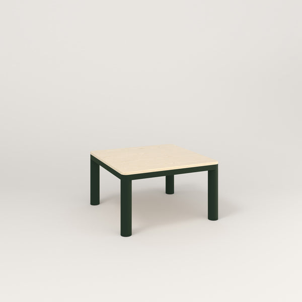 RAD Radius Coffee Table in solid ash and fir green powder coat.