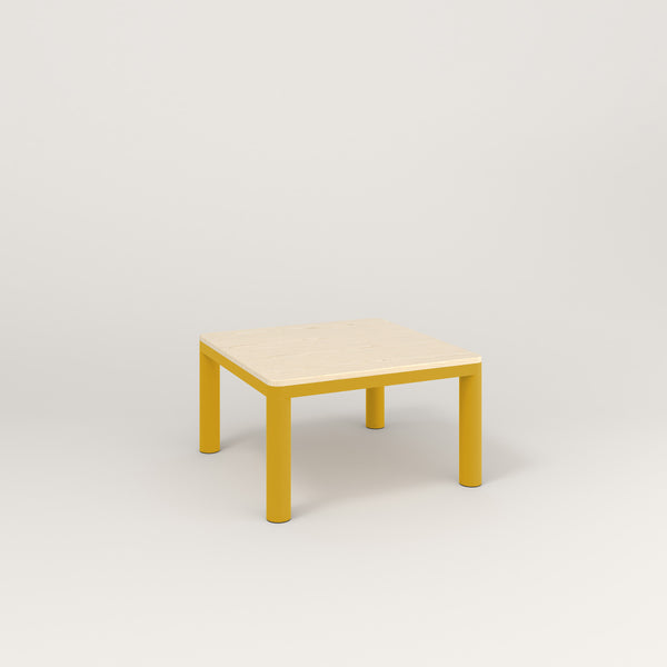 RAD Radius Coffee Table in solid ash and yellow powder coat.