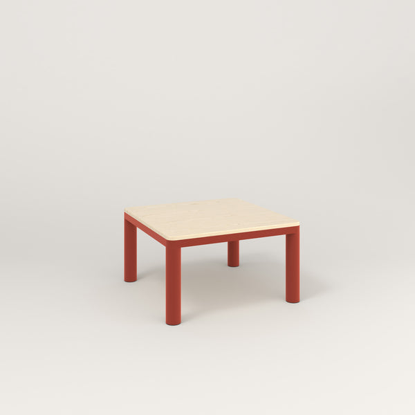 RAD Radius Coffee Table in solid ash and red powder coat.