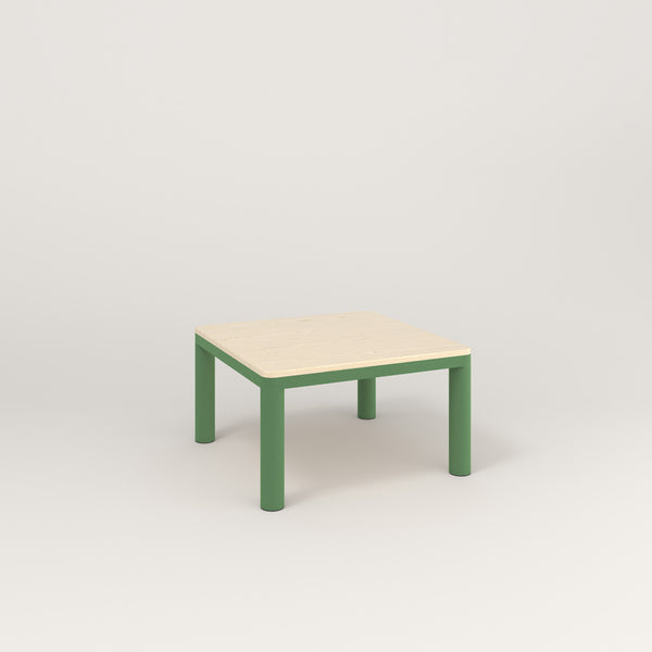 RAD Radius Coffee Table in solid ash and sage green powder coat.