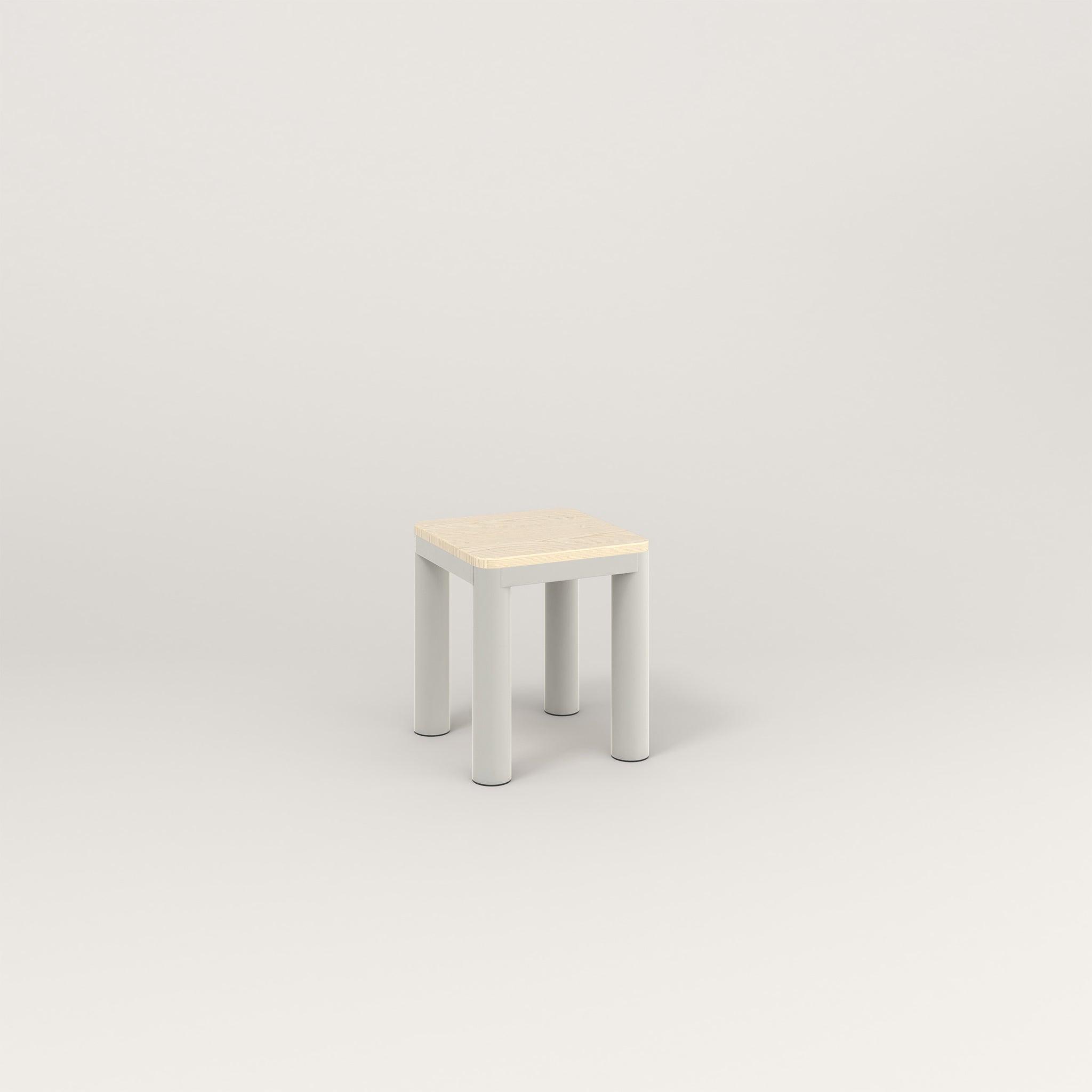 RAD Radius Simple Stool in solid ash and white powder coat.