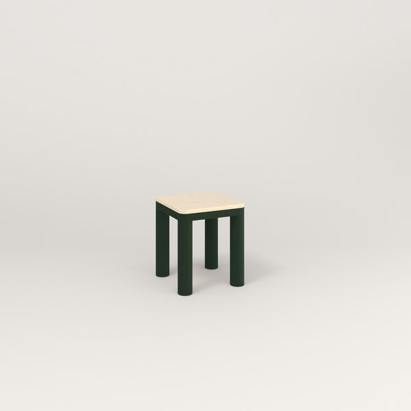 RAD Radius Simple Stool in solid ash and fir green powder coat.