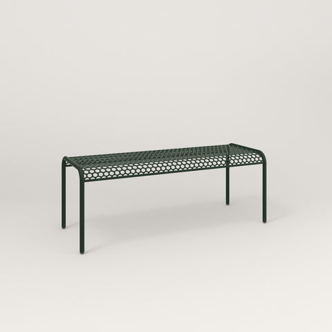 RAD Signature Bent Bench in perforated steel and fir green powder coat.