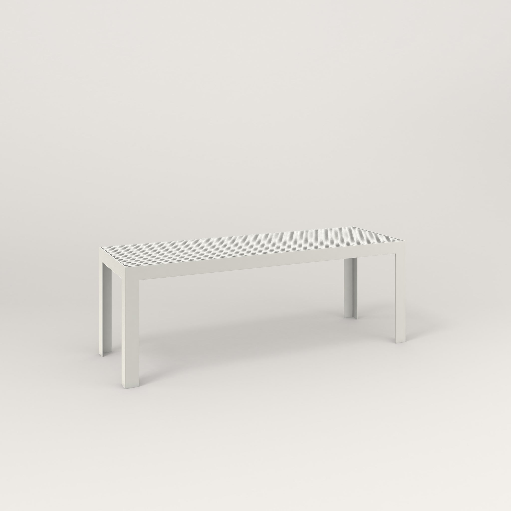 RAD Signature Bench in perforated steel and white powder coat.