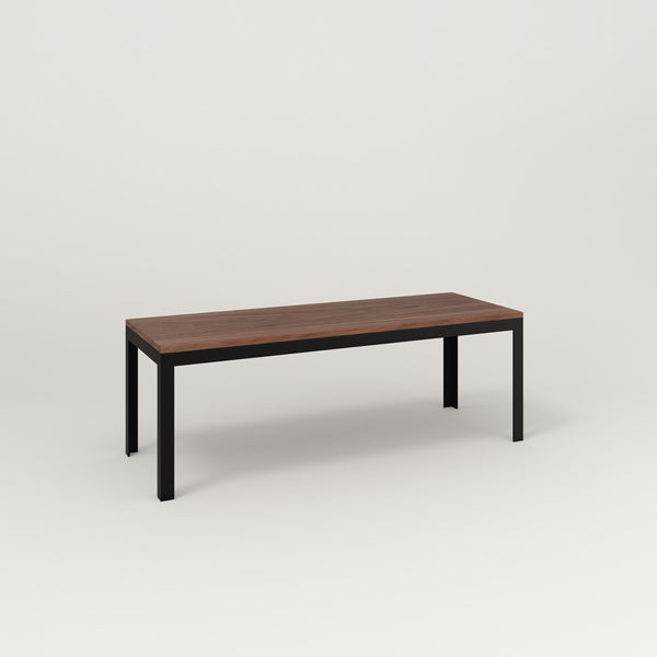 RAD Signature Bench in slatted wood and black powder coat.