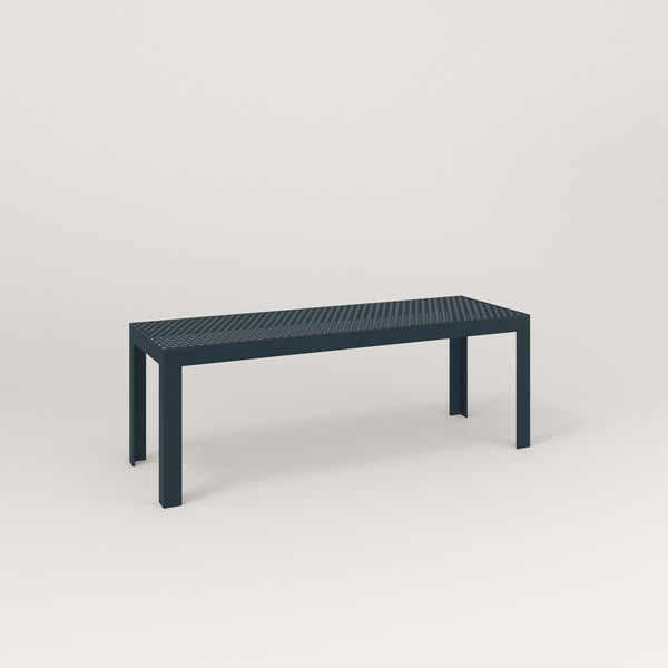 RAD Signature Bench in perforated steel and navy powder coat.