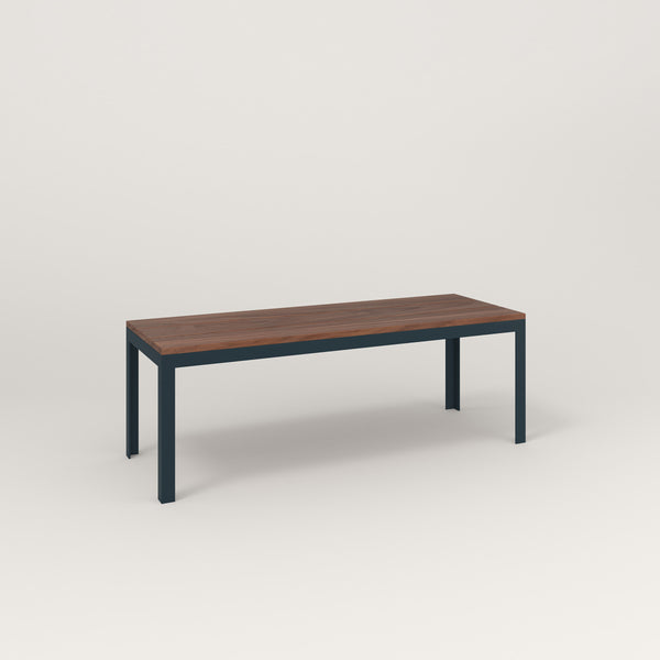 RAD Signature Bench in slatted wood and navy powder coat.