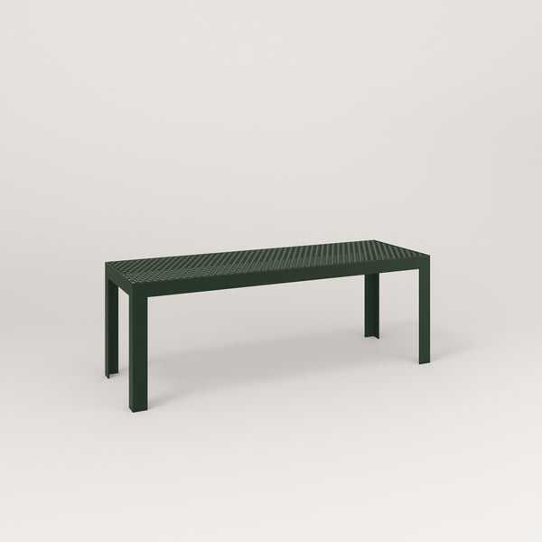 RAD Signature Bench in perforated steel and fir green powder coat.