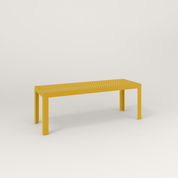 RAD Signature Bench in perforated steel and yellow powder coat.