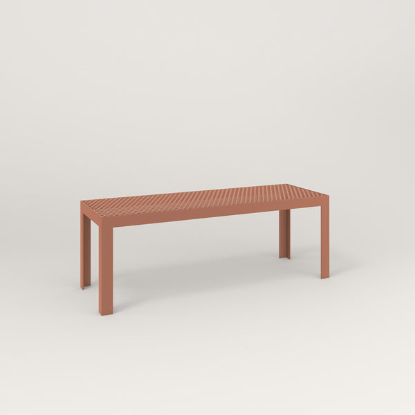 RAD Signature Bench in perforated steel and coral powder coat.