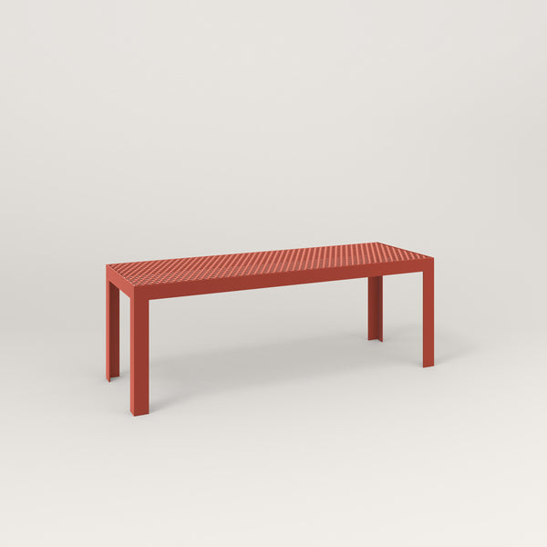 RAD Signature Bench in perforated steel and red powder coat.