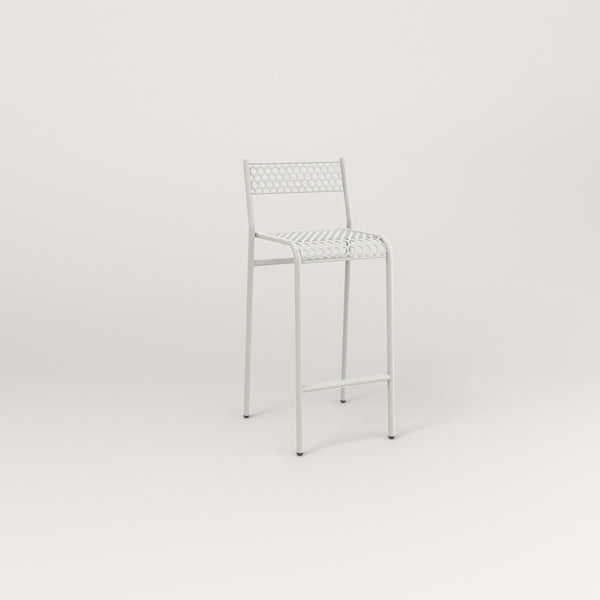 RAD Signature Bar Stool With Back in perforated steel and white powder coat.
