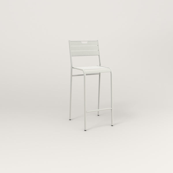 RAD Signature Bar Stool With Back Slatted Steel in white powder coat.