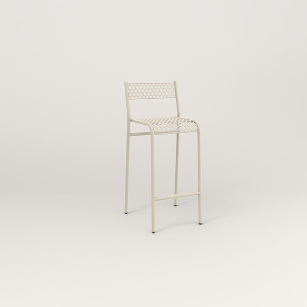RAD Signature Bar Stool With Back in perforated steel and off-white powder coat.