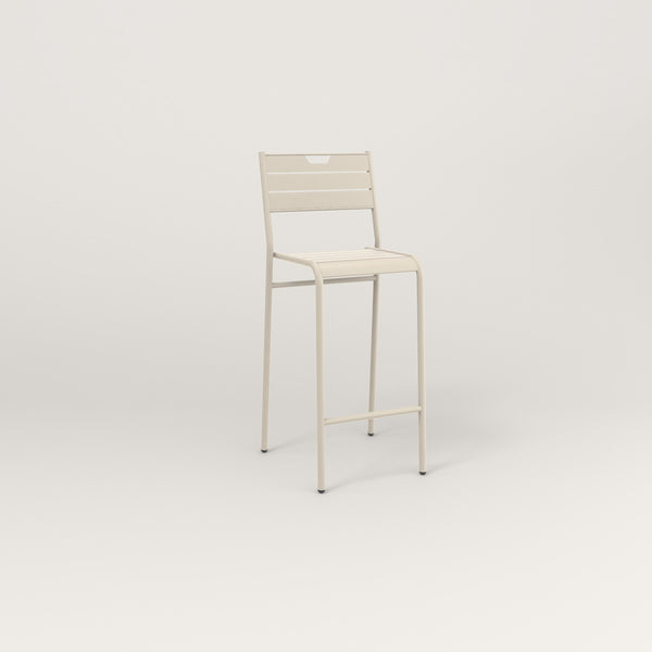 RAD Signature Bar Stool With Back Slatted Steel in off-white powder coat.