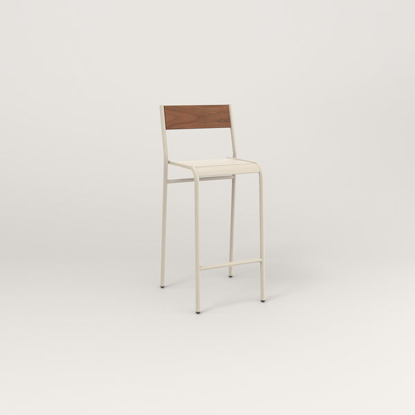 RAD Signature Bar Stool With Back in slatted wood and off-white powder coat.