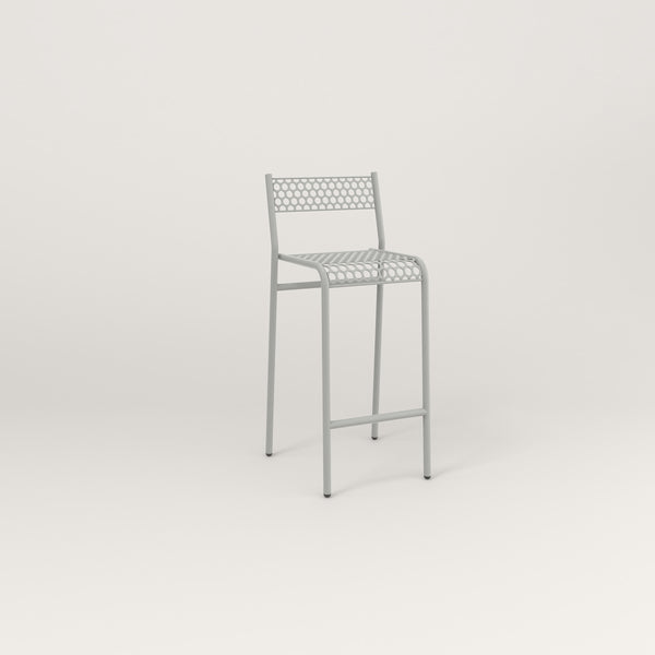 RAD Signature Bar Stool With Back in perforated steel and grey powder coat.