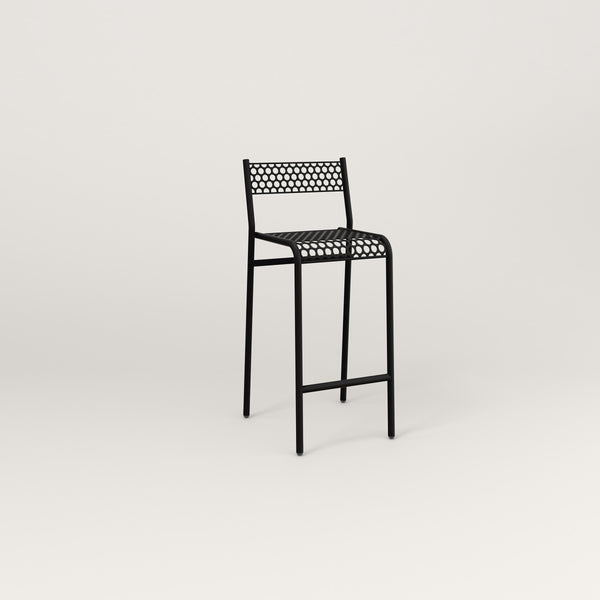 RAD Signature Bar Stool With Back in perforated steel and black powder coat.