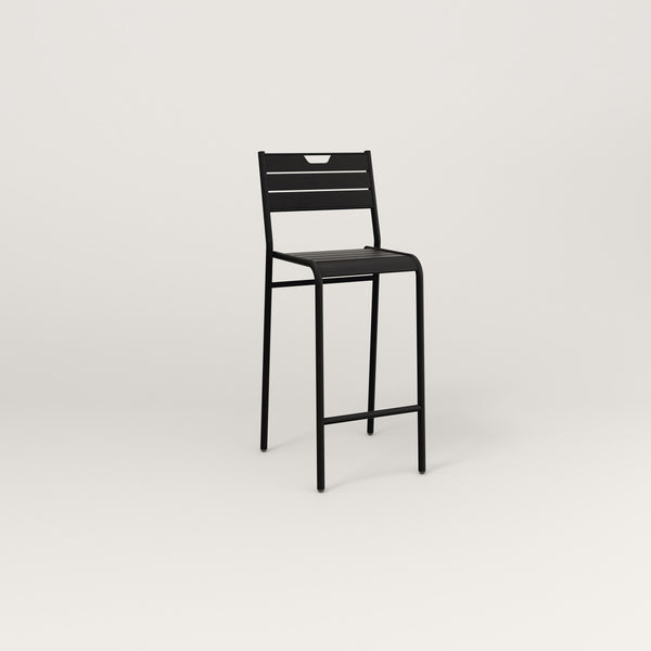 RAD Signature Bar Stool With Back Slatted Steel in black powder coat.