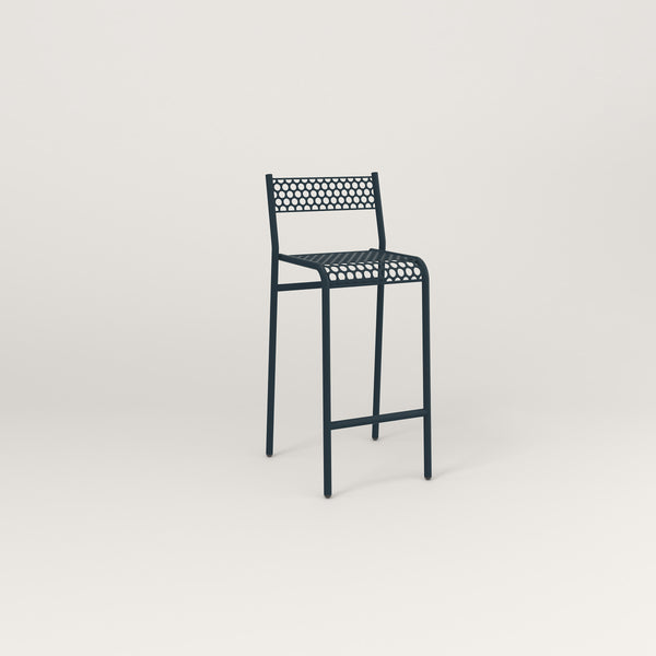 RAD Signature Bar Stool With Back in perforated steel and navy powder coat.