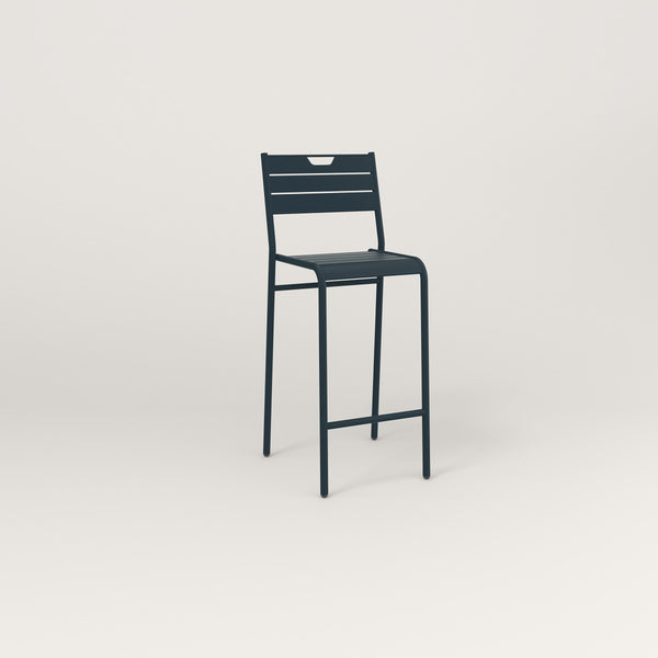 RAD Signature Bar Stool With Back Slatted Steel in navy powder coat.