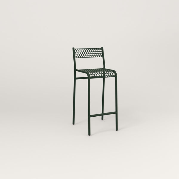 RAD Signature Bar Stool With Back in perforated steel and fir green powder coat.