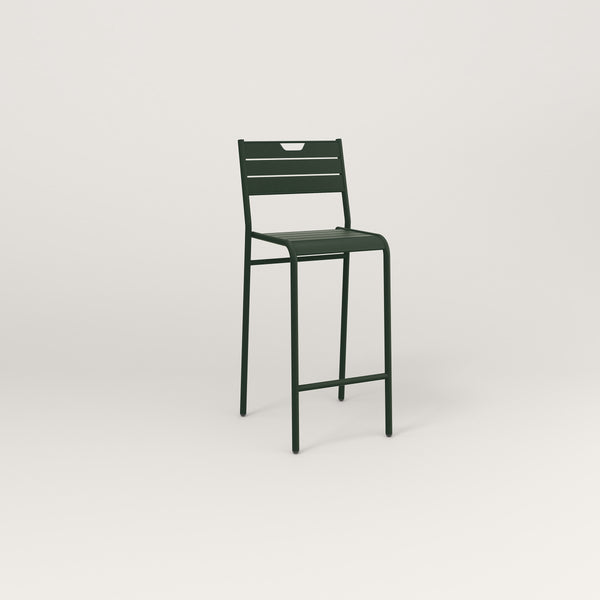RAD Signature Bar Stool With Back Slatted Steel in fir green powder coat.