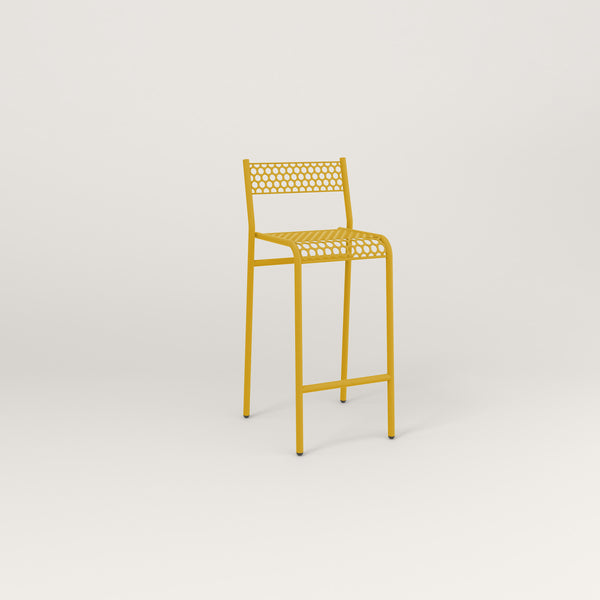 RAD Signature Bar Stool With Back in perforated steel and yellow powder coat.