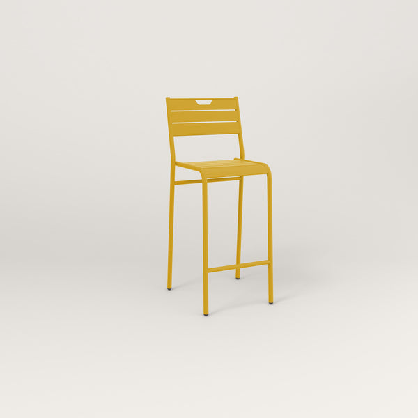 RAD Signature Bar Stool With Back Slatted Steel in yellow powder coat.