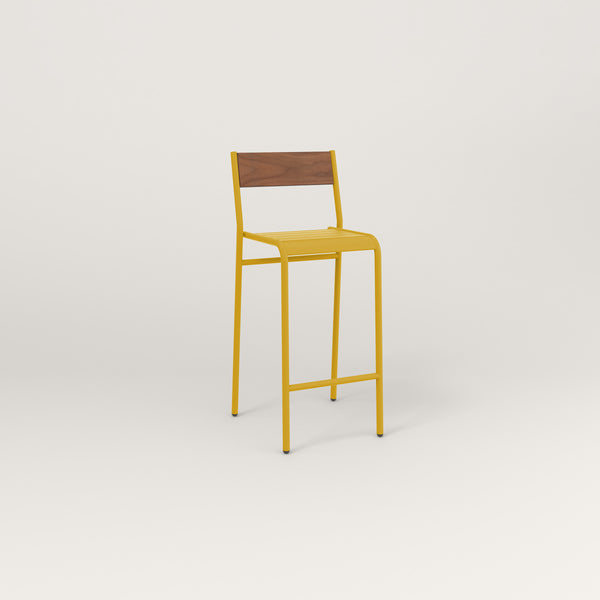 RAD Signature Bar Stool With Back in slatted wood and yellow powder coat.