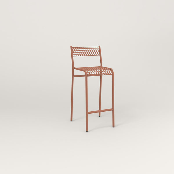 RAD Signature Bar Stool With Back in perforated steel and coral powder coat.