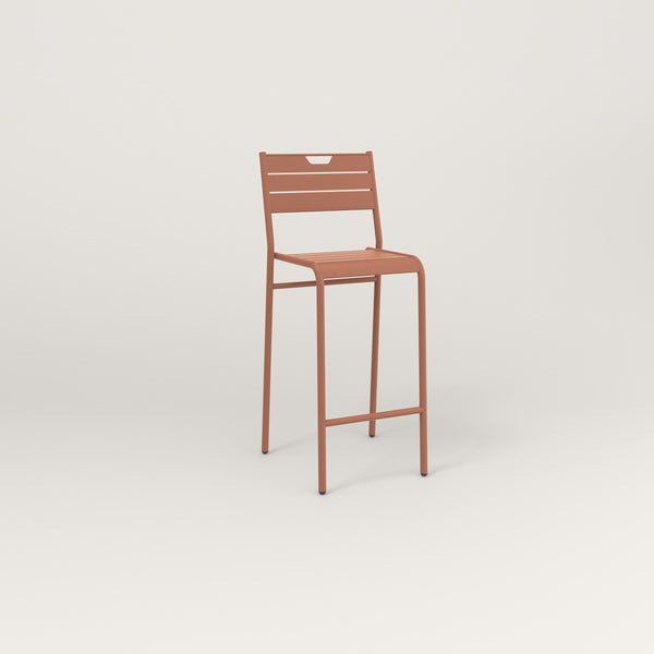 RAD Signature Bar Stool With Back Slatted Steel in coral powder coat.