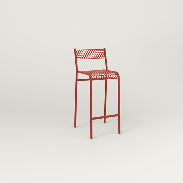 RAD Signature Bar Stool With Back in perforated steel and red powder coat.