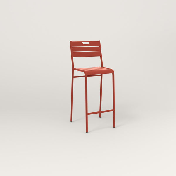 RAD Signature Bar Stool With Back Slatted Steel in red powder coat.