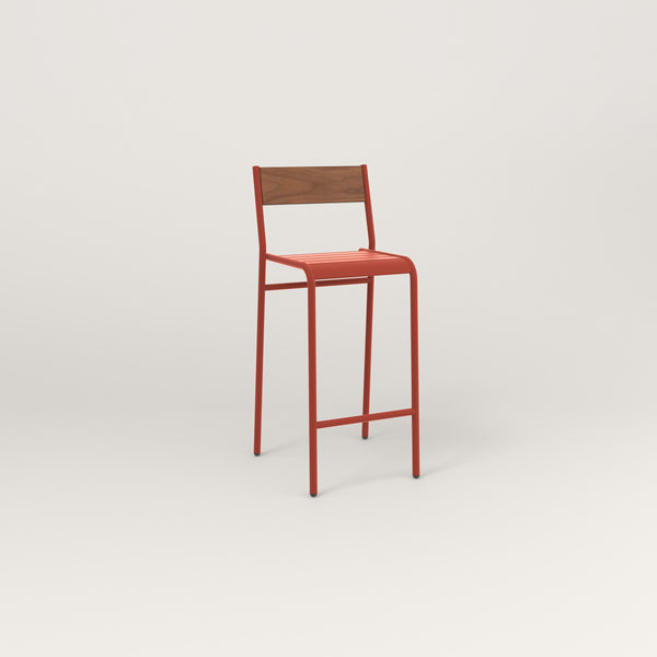 RAD Signature Bar Stool With Back in slatted wood and red powder coat.