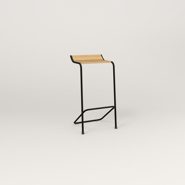 RAD Signature Bar Stool in solid white oak and black powder coat.
