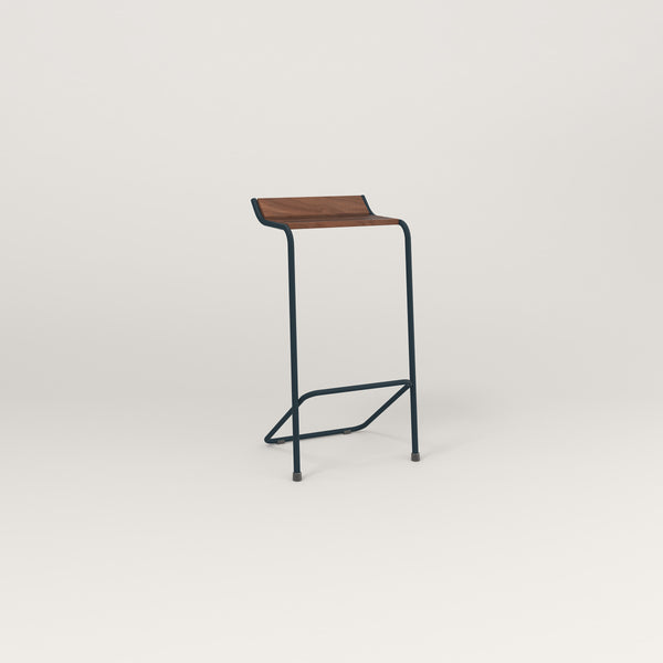 RAD Signature Bar Stool in slatted wood and navy powder coat.