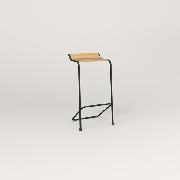 RAD Signature Bar Stool in solid white oak and fir green powder coat.