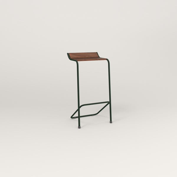 RAD Signature Bar Stool in slatted wood and fir green powder coat.