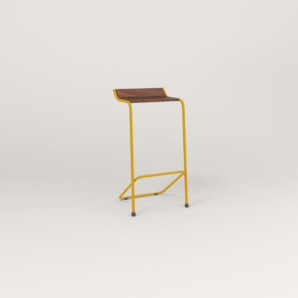 RAD Signature Bar Stool in slatted wood and yellow powder coat.